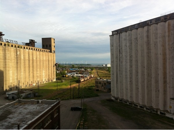 View from the Perot Malting Elevator at Silo City in the First Ward.