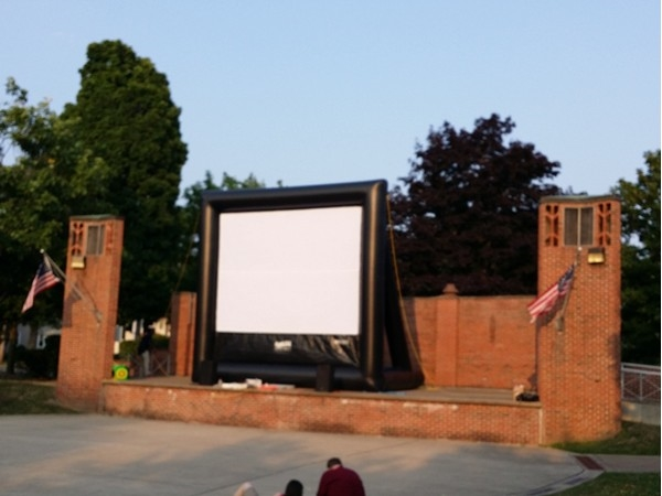 Outdoor movie night in the Village of Liverpool. A nice gathering of the community