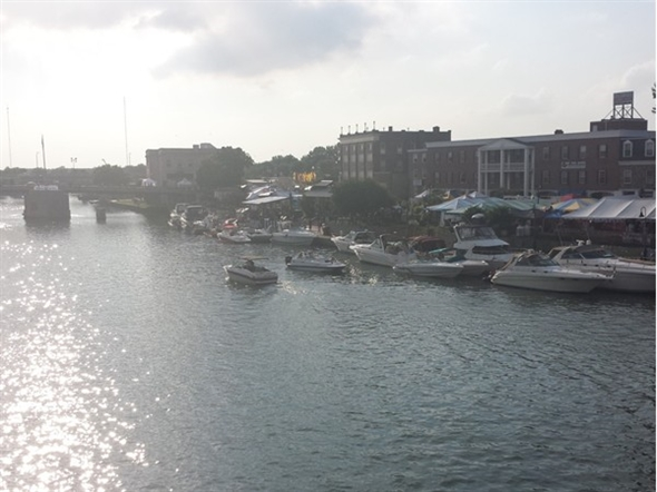 Sunset over the Canal during Canal Fest. Photo taken from  Delaware St Bridge looking at Sweeney St.