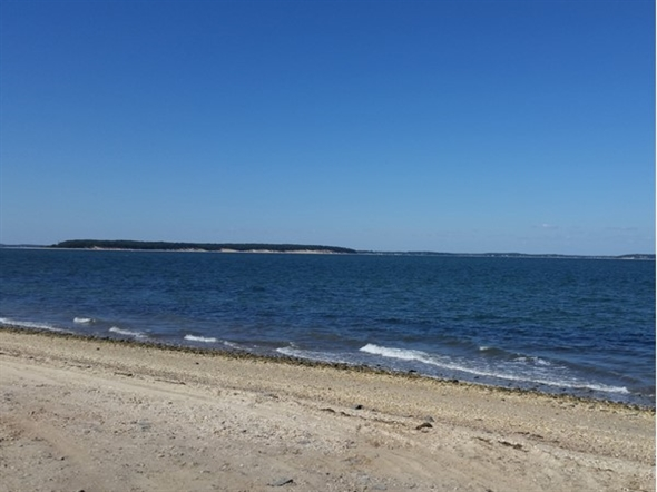 North Sea Beach, Southampton.  A view of Robins Island