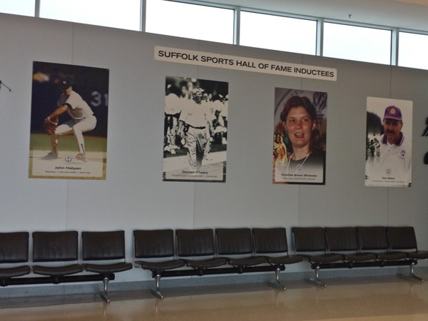 Display of former and current Long Island sport hall of fame at MacArthur Airport