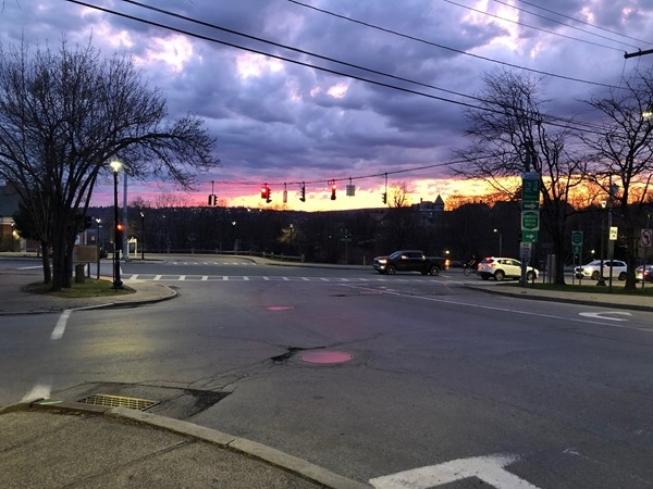 The sun sets on Main Street, Beacon overlooking Newburgh, NY
