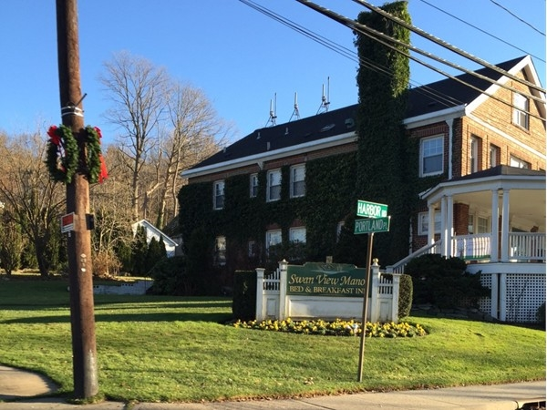 Cold Spring Harbor Swan View Manor Bed & Breakfast. Across the street is the beautiful LI Sound