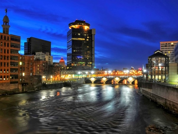 Downtown Rochester from the Broad Street Bridge looking Northward