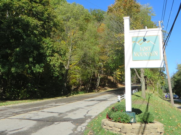 Entrance to the Lost Mountain Trail condo complex in Penfield