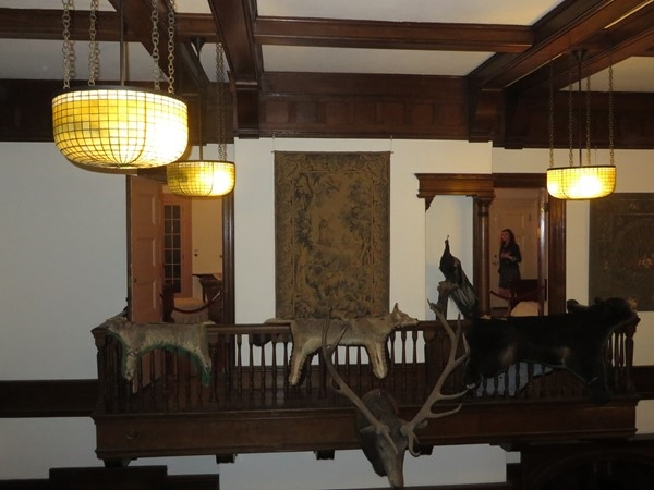 Balcony overlooking the great room at the Sonnenberg Mansion