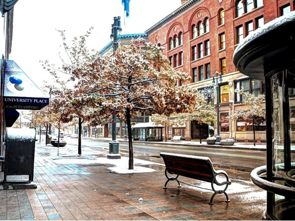 Main Street in Rochester was vacant and unusually quiet very early on Thanksgiving morning