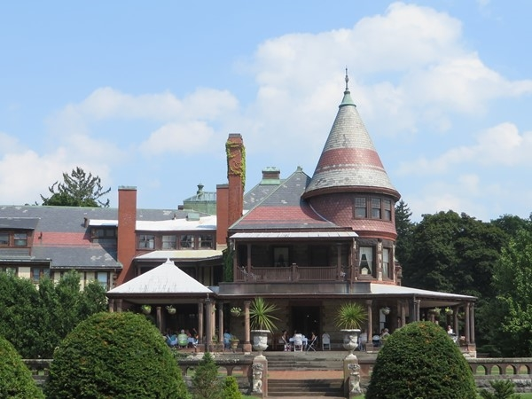 View of the Sonnenberg Mansion from the formal gardens