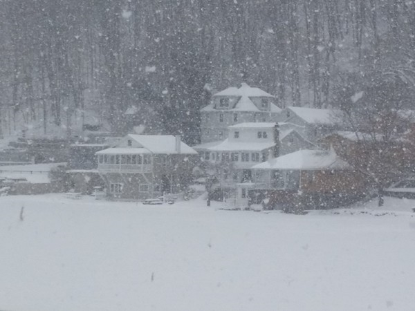 Snow storm over the lake
