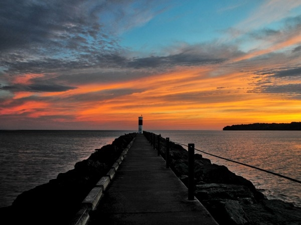 An incredible sunrise on Lake Ontario at the Irondequoit Inlet Pier