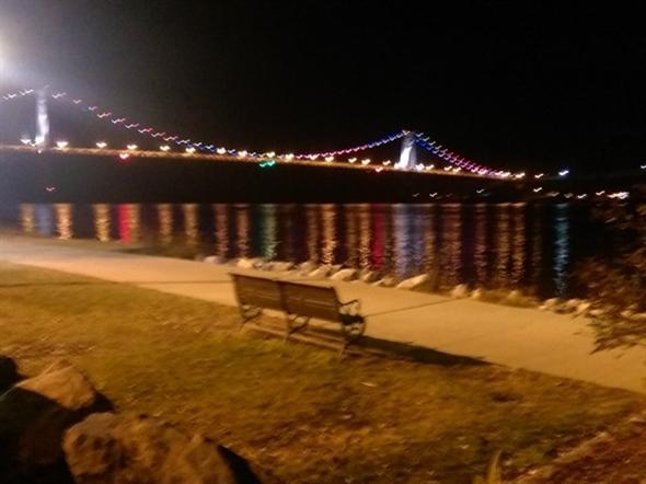 Mid-Hudson Bridge in Christmas colors