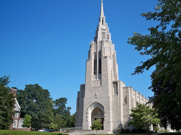 The Asbury First United Methodist Church is an example of American gothic design over 150 ft tall