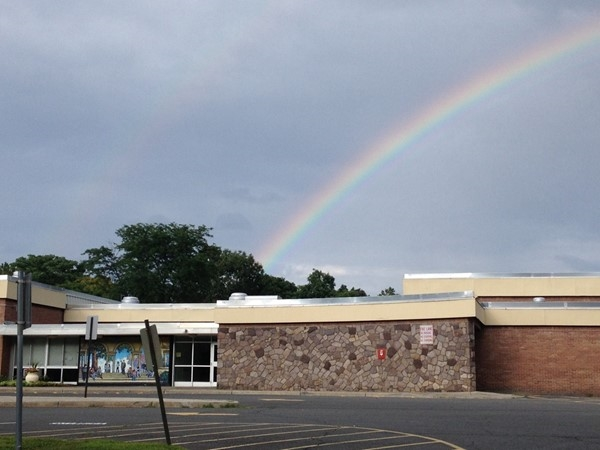 Beautiful rainbow over Lee Rd Elementary School