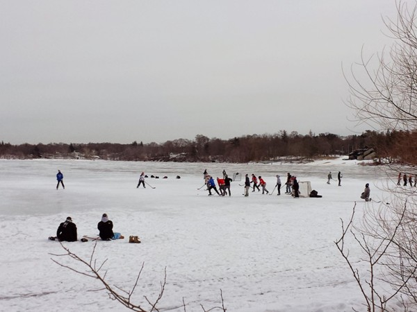 Playing ice hockey on Lake Ronkonkoma