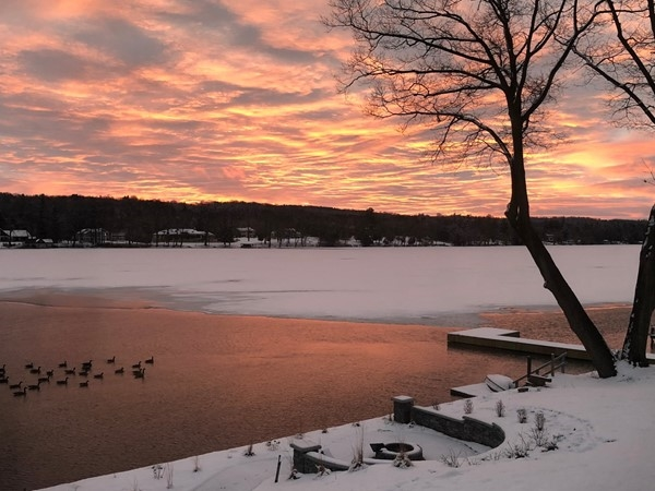 Winter sunrise on Cazenovia Lake