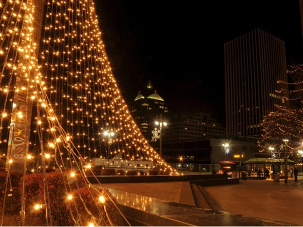 The downtown Liberty Pole lit up for the Christmas holiday