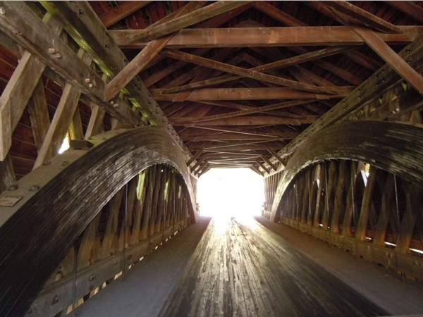 Inside the covered bridge in Newfield. One lane traffic only