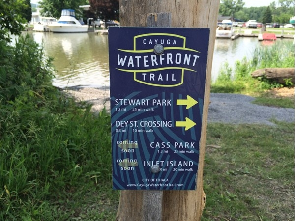 The Cayuga Lake Waterfront Trail that horseshoes around the southern end of Cayuga Lake!