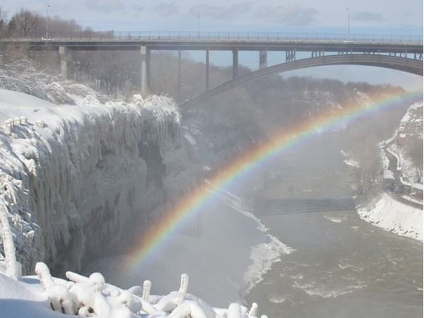Winter rainbow at High Falls