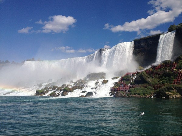 American Falls are along side the lesser known Bridal Falls on the right. Part of Niagara Falls