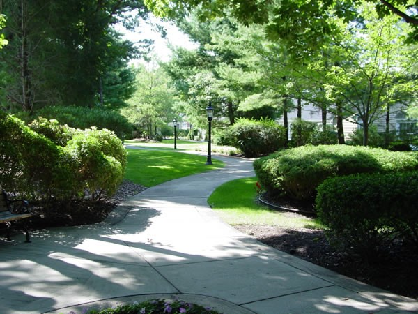 Beautiful grounds with specimen plantings along the Paseo at Leisure Glen