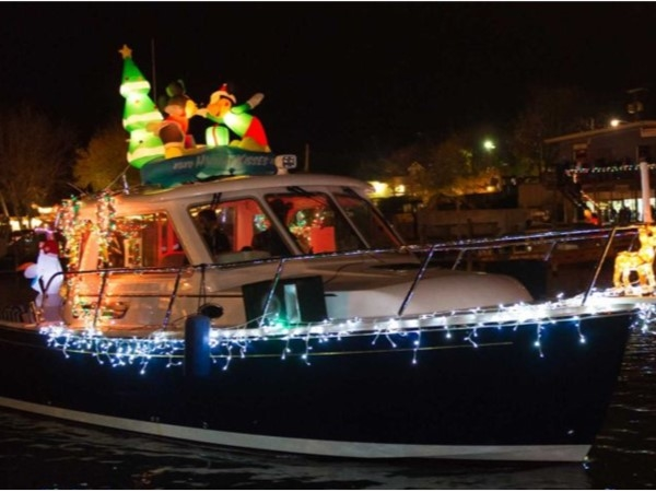 There are a variety of decorated boats in the Christmas Holiday Parade of Boats