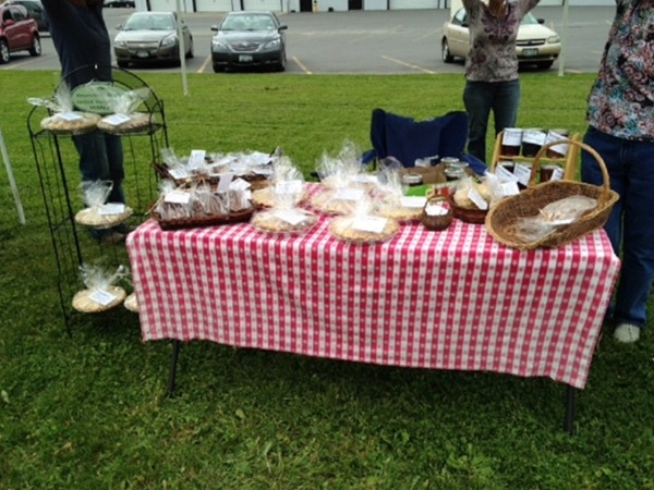 Fresh baked goods at Chittenango Farmers Market on Thursdays in the Village