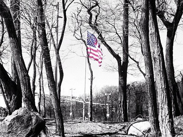American Flag flying high over Oakwood