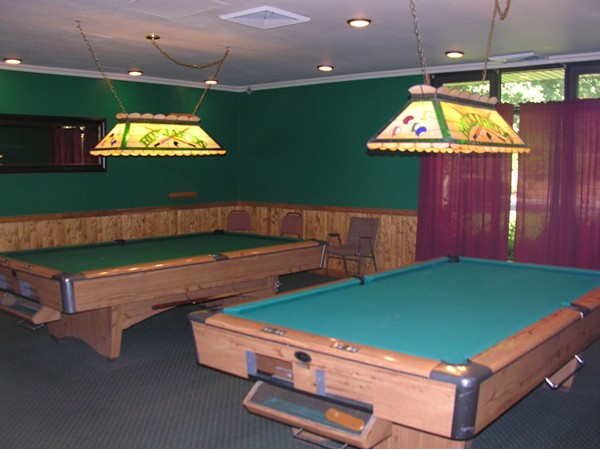 Pool tables in the game room