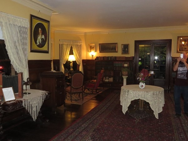 The library and music room in the Sonnenberg Mansion