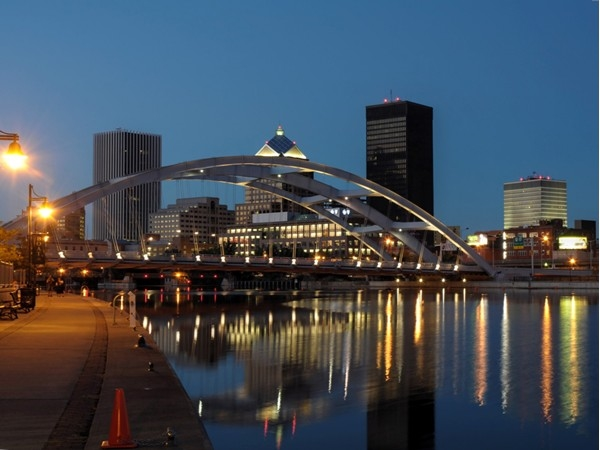 Rochester's nice skyline turns magical at dusk with twinkling lights and flowing reflections