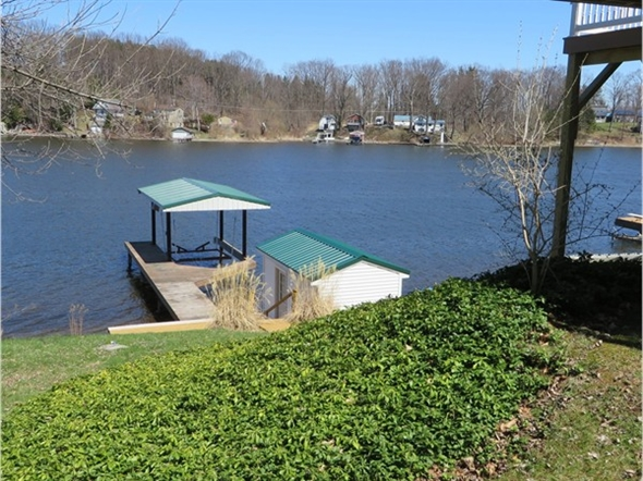 Permanent dock and boat house on Tompkins Point road on Port Bay