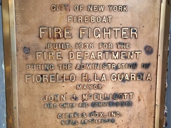 Fireboat plaque