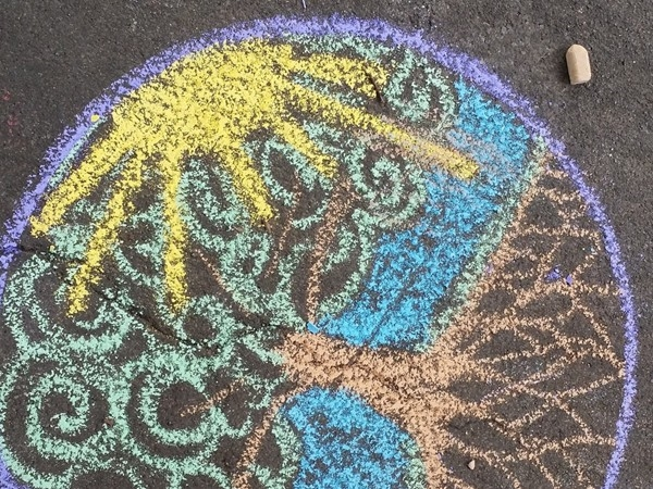 Kids of all ages love pavement art at Strathmore's Art on the Porches Festival