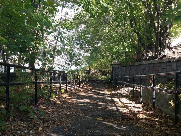 Beautiful trail on North Shore Staten Island in Snug Harbor leading to the waterfront