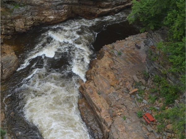 Ausable Chasm is a great place to have a picnic at that red table below