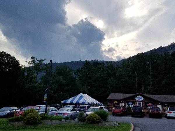 Mountain view of the ridge and local business