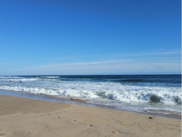 Very famous Ditch Plain Beach in Montauk. Surfers paradise