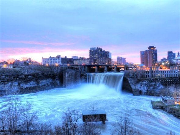 The Genesee River runs through Rochester and makes a beautiful spot at High Falls.