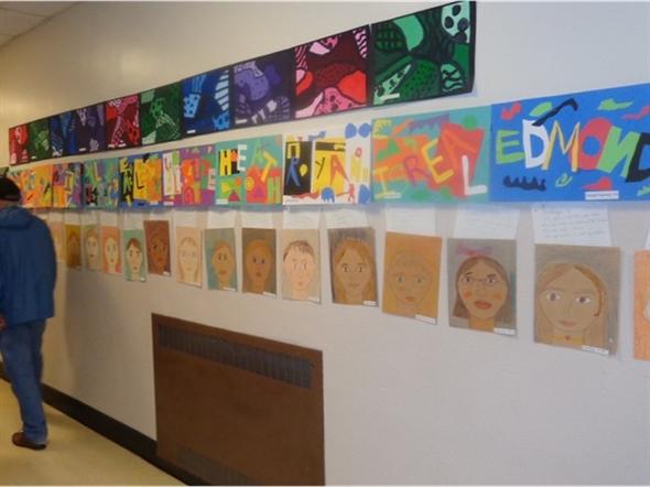 2014 Smallwood School Art Exhibit showing self portraits