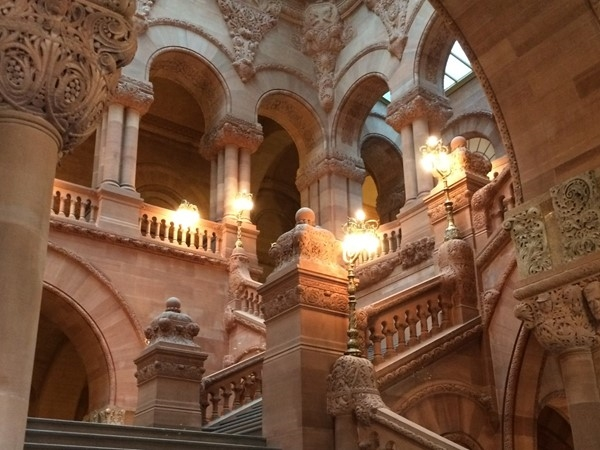 Historic Million Dollar Staircase at New York State Capitol Building