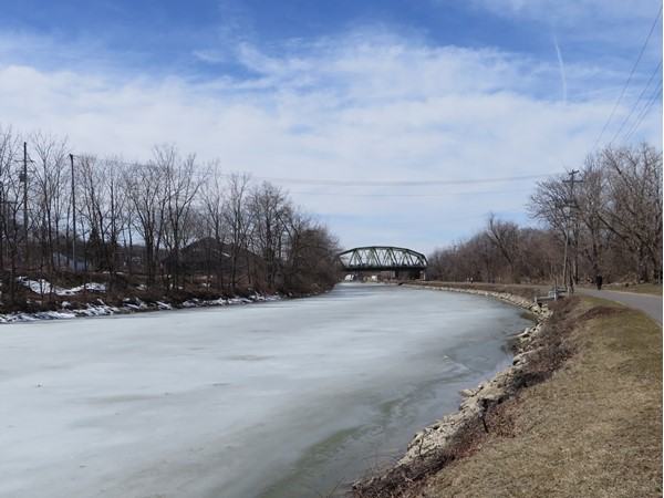 Frozen Erie Canal from Grove Street on a beautiful 65 degree April 2nd