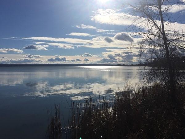 Late morning sun on west side of Cayuga Lake