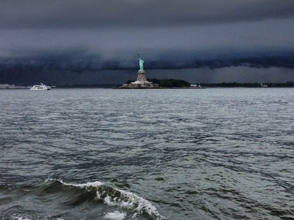 Dark sky over Lady Liberty