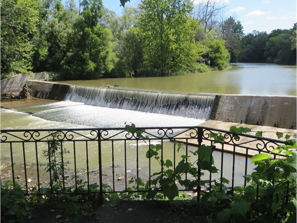 Picturesque view of the falls and Honeoye Creek from the viewing platform in Veterans Memorial Park