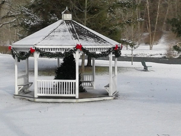 The Marcellus Park Gazebo decorated for the holidays