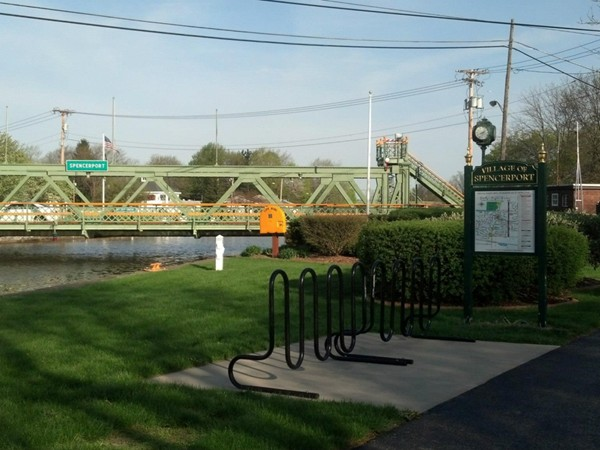 Small park welcoomes you to the village of Spencerport as you walk along the canal
