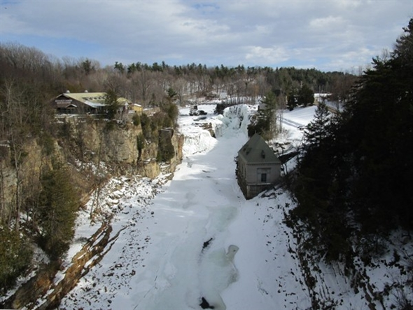 Winter trails are open at the Ausable Chasm and often feature 150' icicles. Now that's a popsicle!!