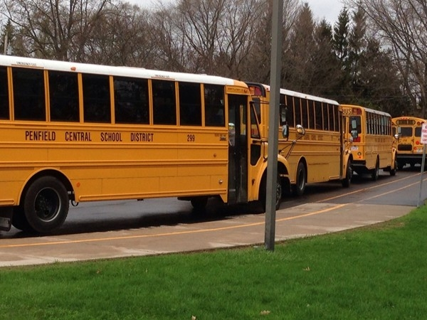 The bus loop at Cobbles Elementary School, part of the Penfield Central School District