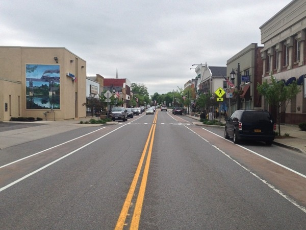 A redesigned village main street layout; walkable, bike-able, and traffic friendly